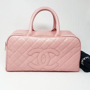 100% Auth CHANEL Caviar Skin Pink Handbag
